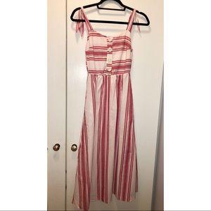 Zara striped red midi dress with pockets